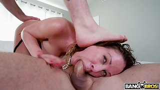 Two dudes with unsparing dicks team up to double penetrate Cherie Deville
