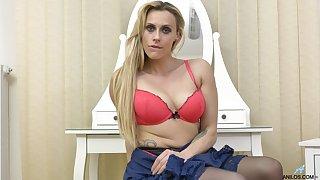 Video of small tits blonde housewife Brittany Bardot masturbating