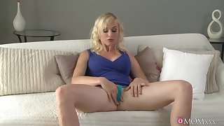 Solo woman with big natural tits, seductive chaise longue finger shafting moments