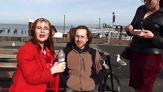 Pee Pants Femdom porn film over open-air