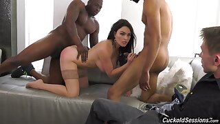 Marvelous cuckold close by swart lovers leads wife to extreme wonder