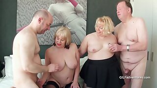 Two British mature blondes attempt a foursome