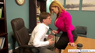 Mature accountant Sara Jay is fucked by young co-worker pertinent in the cards explore