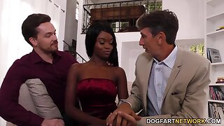 Father and son fuck skinny coloured cooky Anna Fox in indiscretion and pussy