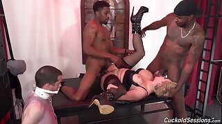 Mistress Ryan Keely fully humiliates her cuckold with pitch-black livestock