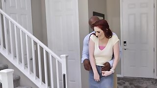 Approaching stepdaughter sucking BBC redhead longed-for a threesome