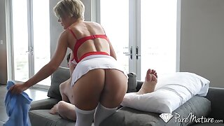 Fit MILF stepmom helps her horny stepson recover faster by making out him