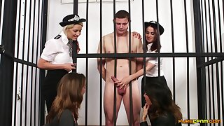 Video of a naked dude getting pleasured by Madlin Lieutenant and cops