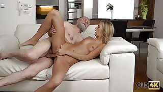 Flawless blonde unladylike with their way pussy fucked by old man