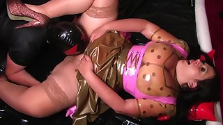 Fuck the Dirty Latex Dirndl Dress Bitch - Latex Fucking in the Bedroom - Cum on my Pussy