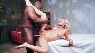 Blonde milf amazing hard sex with a black thug