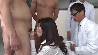 Japanese goddess works the dick in fantastic scenery