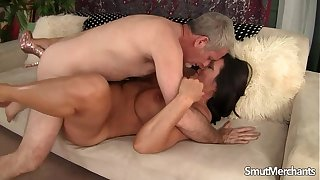 Mature Brunette takes fat dick