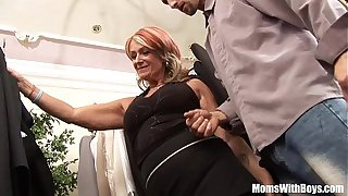 Old Lady Joanna Depp Fucks Young Boyfriend In Dressing Room