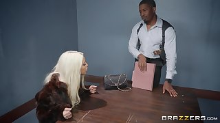 Bridgette B, gets her pussy pounded by her sex-crazed boyfriend aloft the table