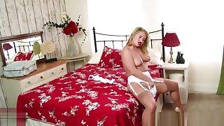 Blonde Milf Olga Cabaeva strips retro lingerie vintage nylon