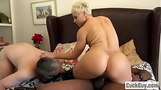 Helena Locke turns the brush husband into cum eating cuckold