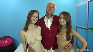 Blonde Kacey Lane and her nasty girlfriend are fucked by four horny guy