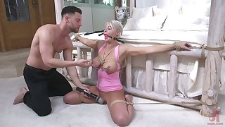 Tied up to bed milf London River gets her mouth with an increment of anus rammed by young pervert