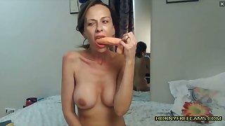 Brunette Horny MILF Fucks Pussy Hard