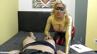 Bosomy blonde gives a blowjob and titjob to hot blooded Asian trestle Jason Katana