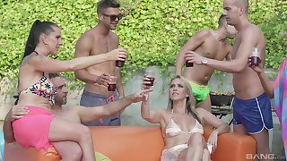 Texas Patti and Lana Vegas enjoy orgy away from the pool to their friends