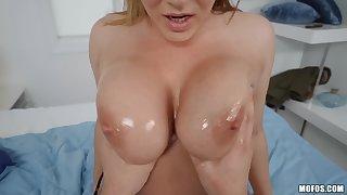 Natasha Error-free shakes huge boobs in cowgirl position