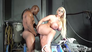 Black dude destroys wet pussy be advantageous to Alura Jenson with his huge dick
