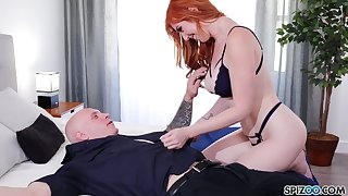 Turn over in one's mind catching redhead Lauren Phillips is so into riding sloppy cock