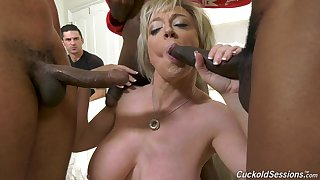 Massive interracial gangbang be expeditious for whore of a wife Dee Williams