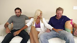 Slutty blonde wife Brittany Andrews needs a handful of cocks to please her