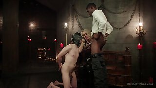 Bi-sexual male slave endures black cock with respect to the throat