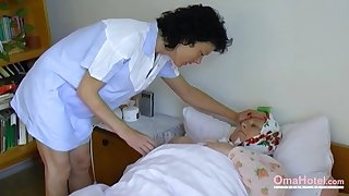 Fat granny seduces a nurse into having mating give her