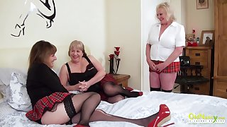 Threesome sexual line with three busty british pansy matures together with sex toys