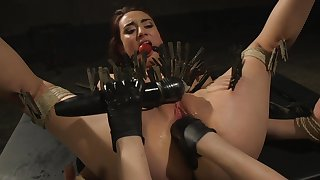 Clamped bitch ass fucked by her medial mistress