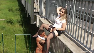 Young depute and blonde exhibitionist's daytime public fucking