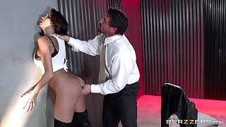 Crazy bonking from behind with joyless pornstar Kayla Carrera