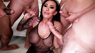Asian bawd gags and sucks dicks in premium gang bang XXX dissemble
