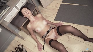 Daryna drops her clothes to tease and plays with her gungy snatch