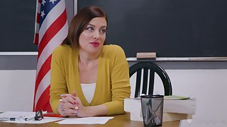 Female teacher is in for a spicy faggot oral with a student