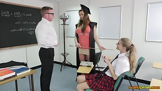 Energized hardcore sex in conglomeration with two schoolgirls